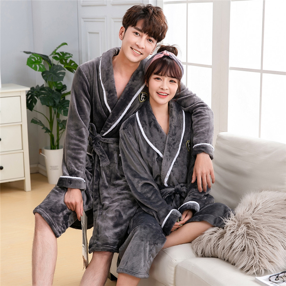 Winter New Warm Bathrobe Lovers Kimono Gown Thicken Flannel Robe With Waistband Coral Fleece V-neck Intimate Lingerie Pajamas