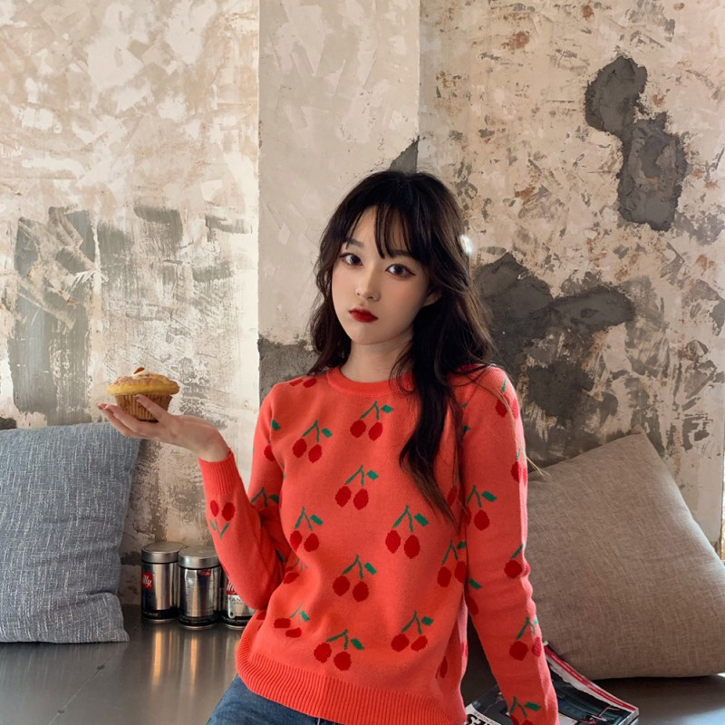 Cherry Vintage Women Pullover Sweater Sweet Kawaii Korean Oversize Long Sleeve Female Knitted Jumper Autumn Winter Pull Femme