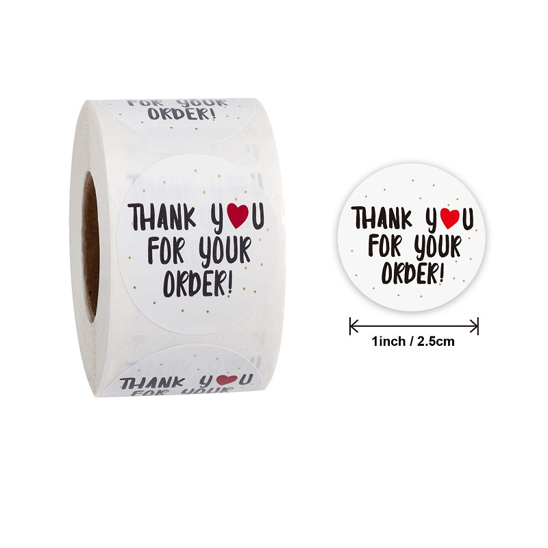 500pcs/roll Thank You For Your Order Stickers Heart Thanks For Shopping Small Shop Local Handmade Sticker White Labels Sticker