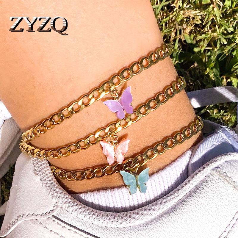 ZYZQ Simple Summer Beach Footwear Ins Wind Color Acrylic Butterfly Anklet Metal Thick Chain Footwear
