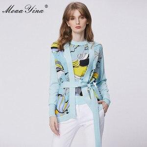 Image 1 - MoaaYina แฟชั่นฤดูใบไม้ผลิแขนยาวถักเสื้อผู้หญิง Elegant พิมพ์ลูกไม้ขึ้น Cardigans ผ้าไหม Patchwork ขนสัตว์เสื้อ