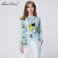 MoaaYina Spring Fashion Long sleeve Knitting Tops Women's Elegant Print Lace up Cardigans Silk Patchwork Wool Sweater Coat