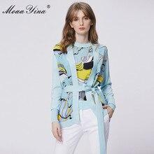 MoaaYina 春のファッション長袖ニットトップス女性のエレガントなプリントレースアップカーディガンシルクパッチワークウールのセーターのコート