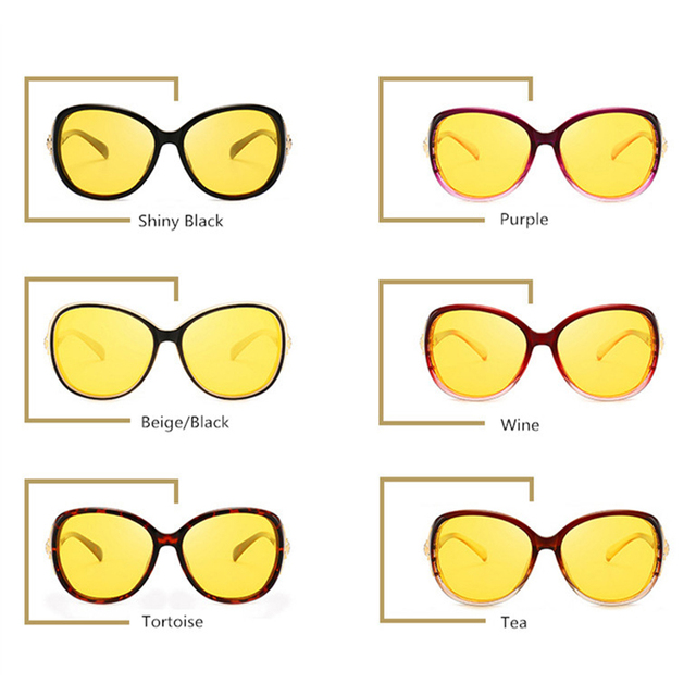 Women HD Polarized Night Vision Driving Glasses Black Oval Oversize Driving Glasses 5
