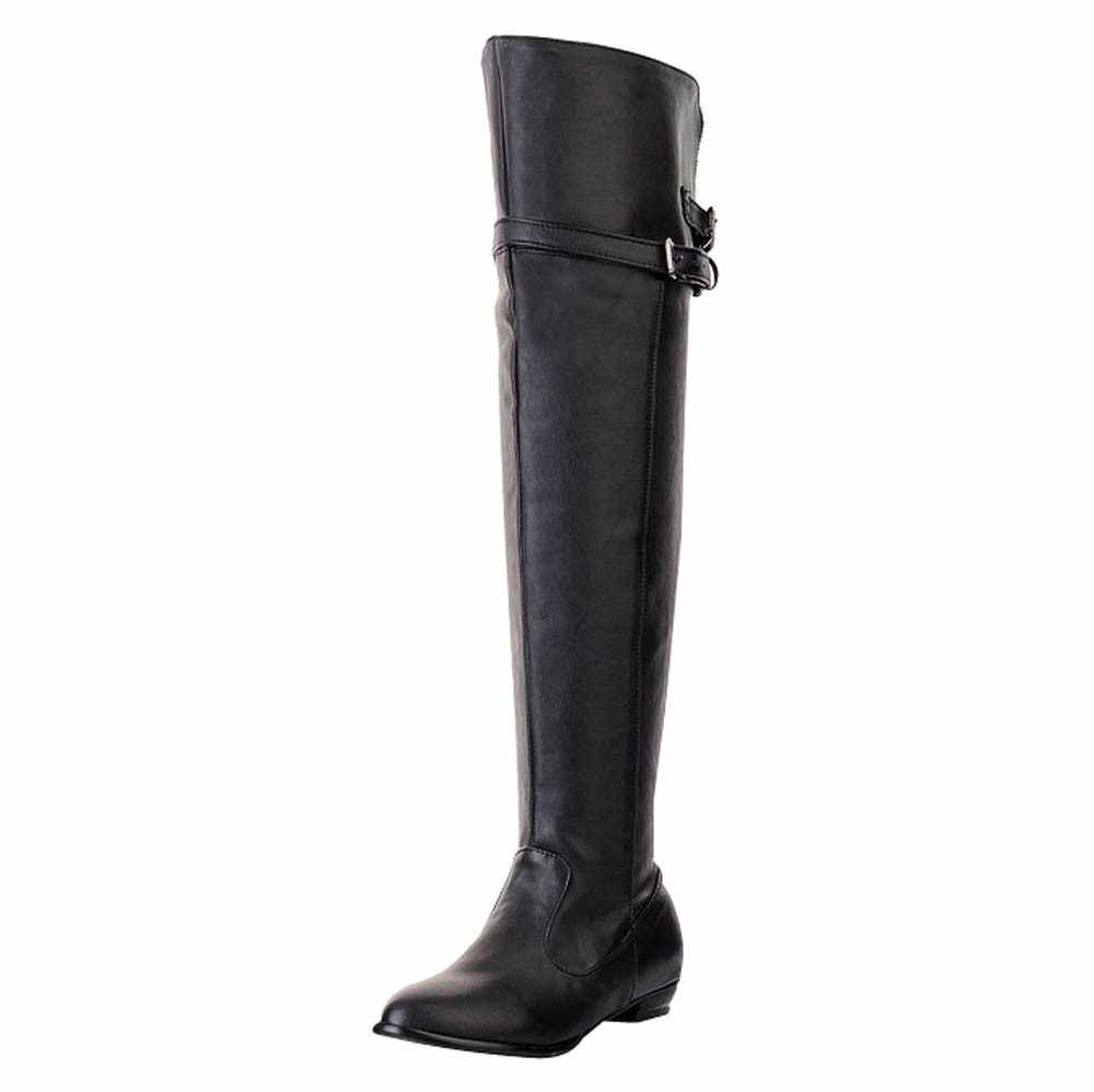 SAGACE vrouwen hoge laarzen PU vrouwen winter laarzen Lange Laars Ridder Boot Ronde Kop Hoge Riem Gesp Platte Bootes g0920 #35