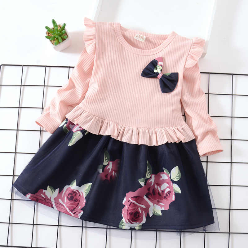 Children Autumn Knitting Dress New Girls Flower Tulle Princess Dresses Baby Girl Ruffles Bow Gown Kids Party Wedding Clothes