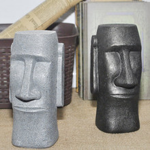 Piggy Bank Black Gray Easter Island Stone Man Desktop Living Room Moai Coin Bank Creative Resin Gift Bookcase Art