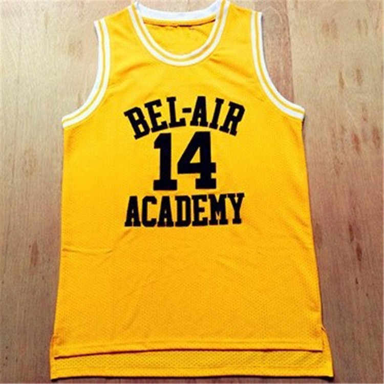Movie Zal Smith NO.14 Bel-Air Academy Basketbal Jersey NO.25 Carlton Bank Zwart Geel Groen Mens T Shirt Vest college Jersey