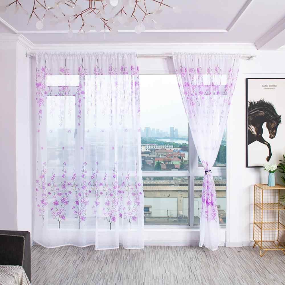 100cm x 200cm árboles pura cortina tul ventana tratamiento Voile cortina Valance Panel tela rideau cortinas para la sala FDH