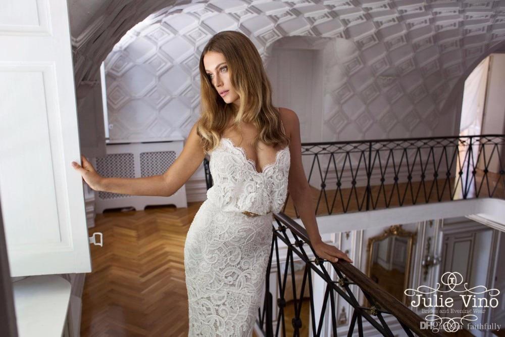 Hot Sale Ivory Mermaid 2015 Wedding Dresses Lace Julie Vino Spaghetti Straps Sleeveless Chapel Train Wedding Gowns Zoey