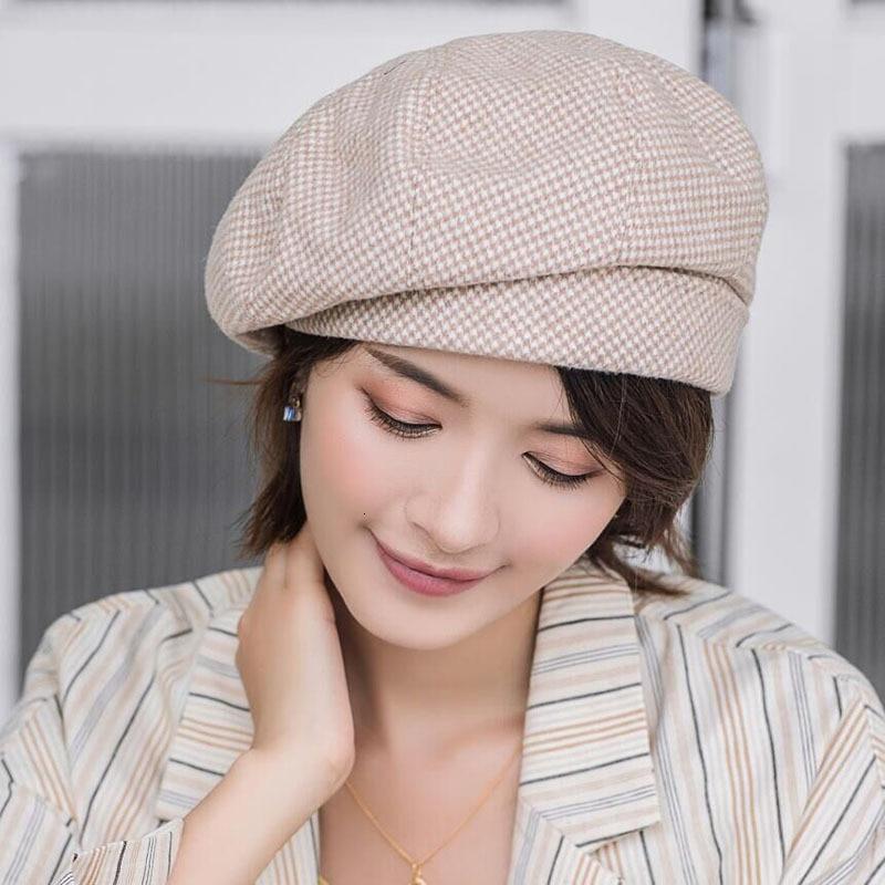 Женский клетчатый берет элегантная зимняя шапка из хлопка и