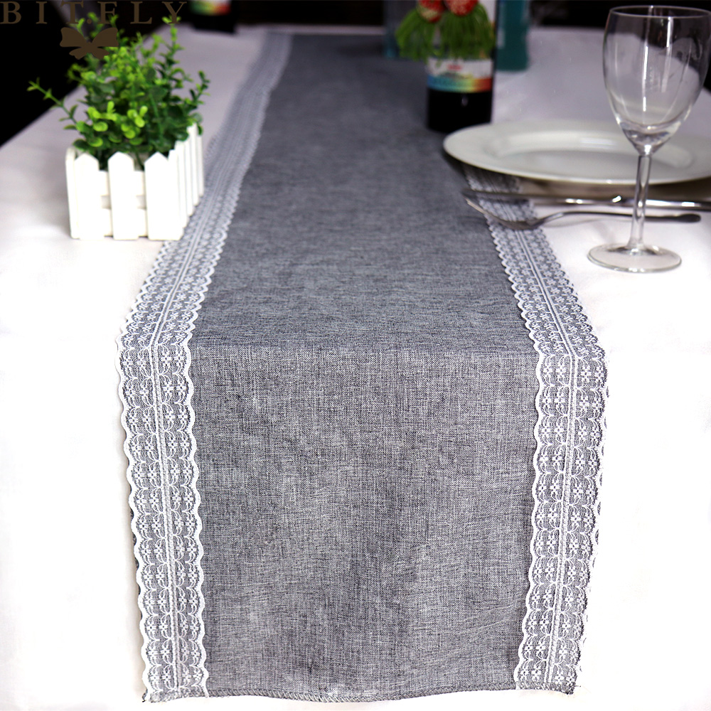 NEW Vintage Simulation Lace Linen Table Runner Christmas Wedding Gray Table Runners Dining Room Restaurant Table Gadget 30x180cm