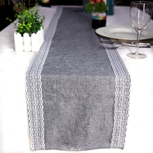 Nuevo Camino de mesa de lino de encaje de simulación Vintage, camino de mesa gris de Navidad para bodas, restaurante, Gadget de mesa 30x180cm