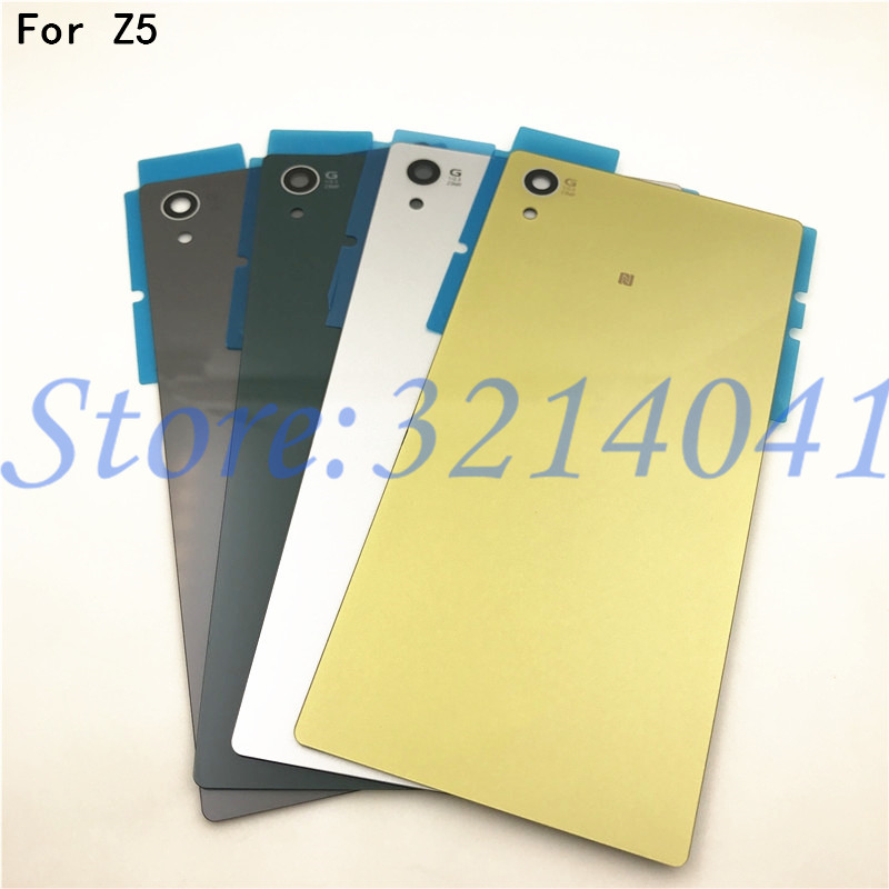 5.2 inches Back Battery Cover Door For <font><b>Sony</b></font> <font><b>Xperia</b></font> <font><b>Z5</b></font> E6603 E6633 E6653 <font><b>E6683</b></font> Housing Rear Glass Case With Sticker Logo image