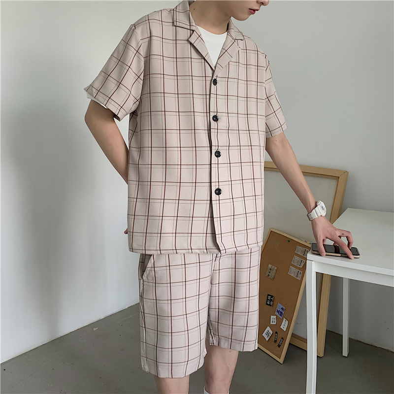 Summer Short-sleeved Shorts Suit Men's Korean Fashion Loose Business Casual Plaid Suit Men's Harajuku Streetwear Formal Suit Men