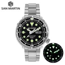 San Martin Tuna SBBN015 Reloj de buceo automático para hombre, acero inoxidable, zafiro, calendario, semana, bisel de cerámica, esfera de rayos solares luminosa