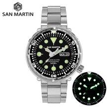San martin atum sbbn015 diver men relógio automático de aço inoxidável safira calendário semana moldura cerâmica sunray dial luminoso