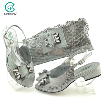 Wedding Dress Classics Silver Color Shoes And Bag To Match Set Nigerian High Heels Party Shoes And Bag Set For Royal Party