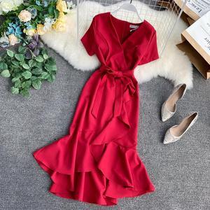 Image 2 - 7 kolorów Plus rozmiar lato Sexy elegancki dekolt do kolan trąbka syrenka szyfonowa Pure Color sukienki koktajlowe sukienka koktajlowa