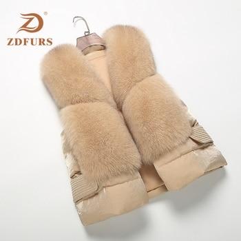 ZDFURS * 2019 New Genuine Fox Fur Vest  down vest Womens fox Waistcoats Winter waistcoat