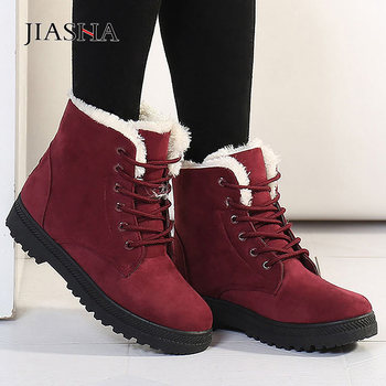 Winter boots women shoes 2020 heels snow boots women lace up flock women ankle boots warm