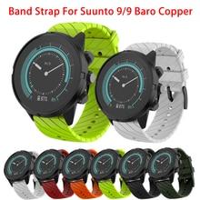 Pulseira de silicone macia para suunto 7/suunto 9 baro/suunto spartan sport pulso hr/suunto d5 pulseira de relógio inteligente 24mm