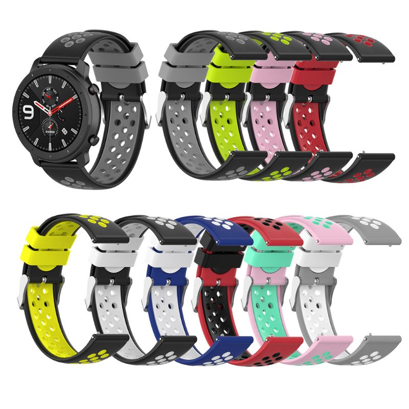 Universal Dual Color Silicone 22mm Watch Band Strap For Samsung Galaxy Watch 46mm Gear S3/R380 Amazfit Stratos/Pace GTR 47mm LG