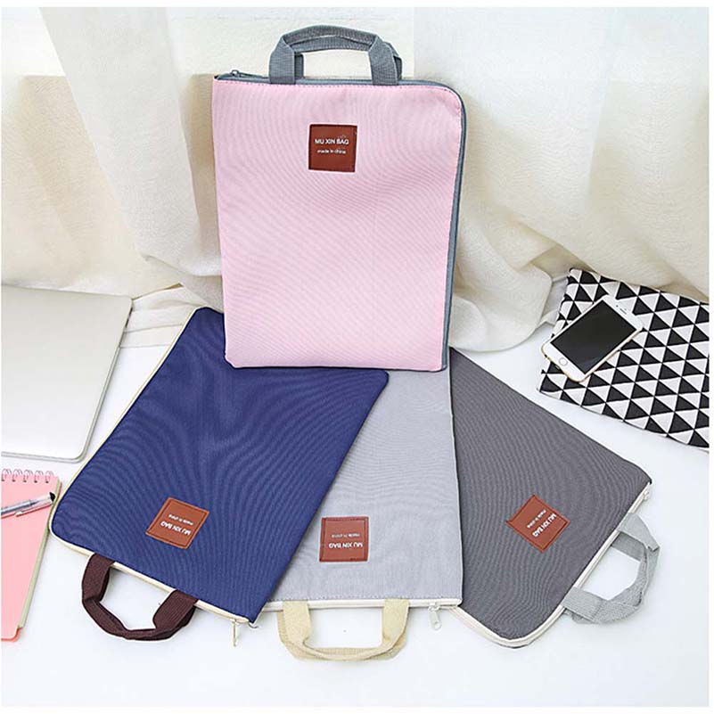 New Canvas Document Bag A4 Hand Pouch Women Document Package Portable Student Children File Bag Cute Laptop Pouch Bag