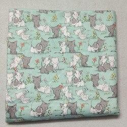 50x105cm gatos vivos Firends impreso tela de algodón tela de gato Patchwork bolsa de tela de fiesta decoración del hogar