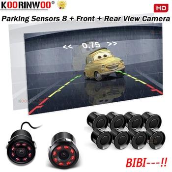 Koorinwoo Parktronic Car Rearivew Camera Car parking sensors 8 Probes Alarm Front Camera 8 IR Lights Reverse Alarm Video System