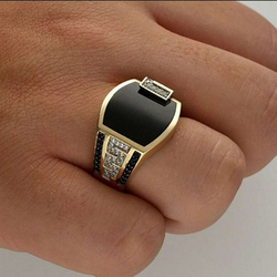 Size 6 -13 Classic Gold-color Rhinestone Men Ring Black Enamel Male Finger Rings Best Selling