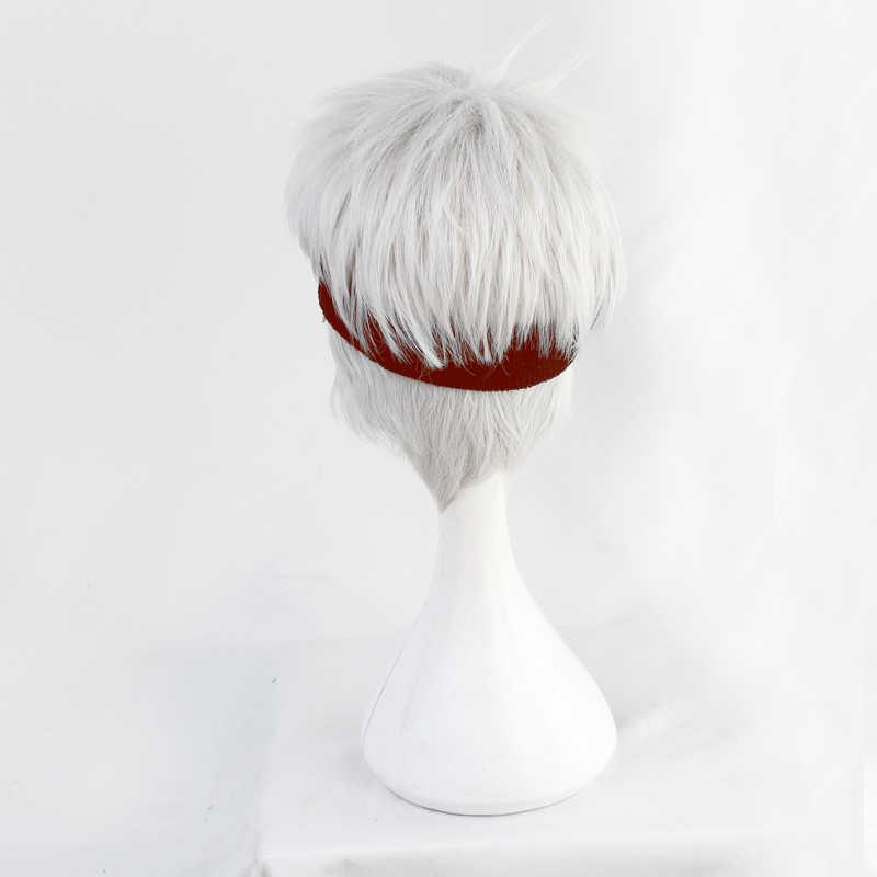 Torsadé-pays des merveilles Kalim al-asim perruques Cosplay déguisement gris argent court résistant à la chaleur postiche synthétique Pelucas + filet à cheveux