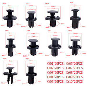 200PCS car clips Auto fasteners Black Plastic Vehicle Bumper Clips Retainer Rivet Door Panel Fender Liner For Honda Acura AUDI