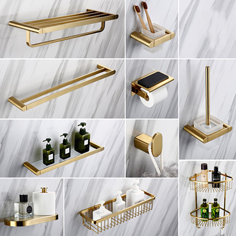 Smesiteli Luxury Golden Bathroom Hardware Sets 304 Stainless Steel Brushed  Paper Holder Towel Rack Soap Dishes Bathroom Product