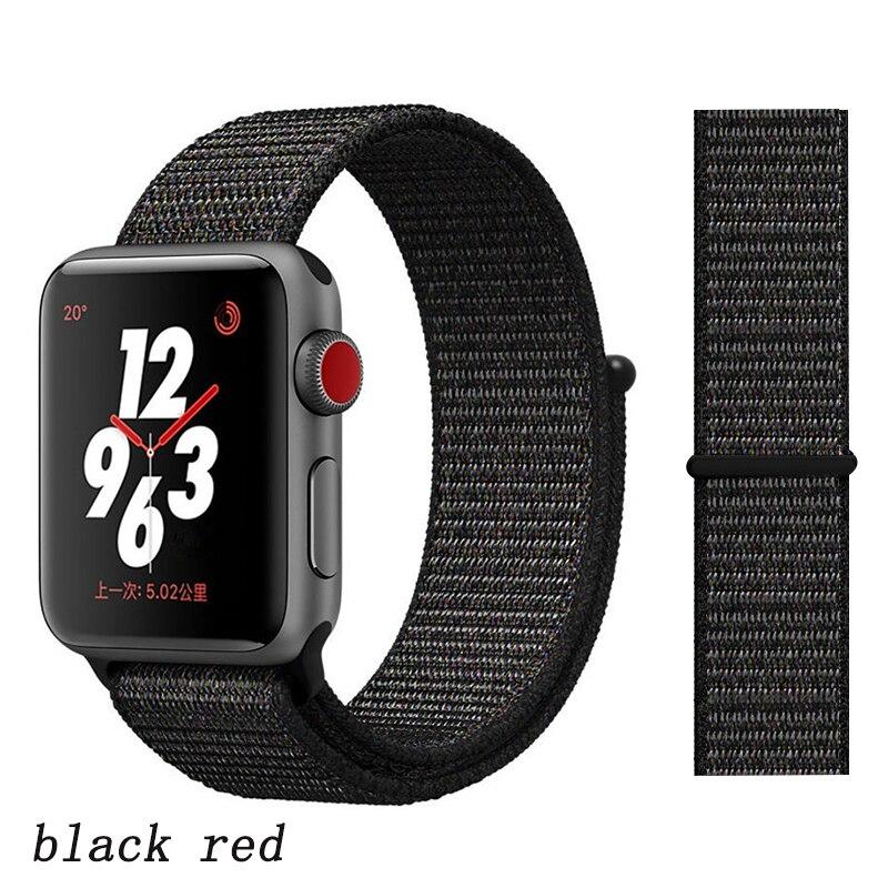 Спортивная петля ремешок apple watch band 42 мм 38 мм apple watch 4 3 band iwatch band 44 мм 40 мм correa pulseira 42 44 нейлоновый ремешок для часов - Цвет ремешка: black red