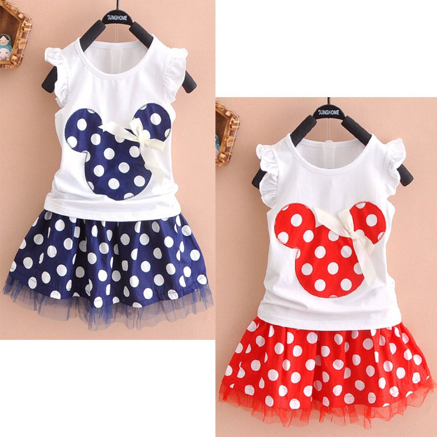 Hot Sale Minnie Mouse Clothes Set Kids Baby Girls Summer Outfits Clothes Sleeveless T-shirt Tops Polka Dot Tutu Skirt Party