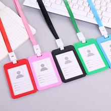 HOT SALES !!!Portable Double Sided Transparent Employee ID Card Holder Name Tags with Lanyard