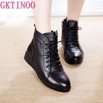 GKTINOO Shoes Women Winter Warm Fur Ankle Boots Genuine Leather Boots Women Casual Shoes Female Boots Woman 2021 Waterproof haraval handmade winter woman long boots luxury flock round toe soft heel shoes elegant casual warm retro buckle solid boots 289