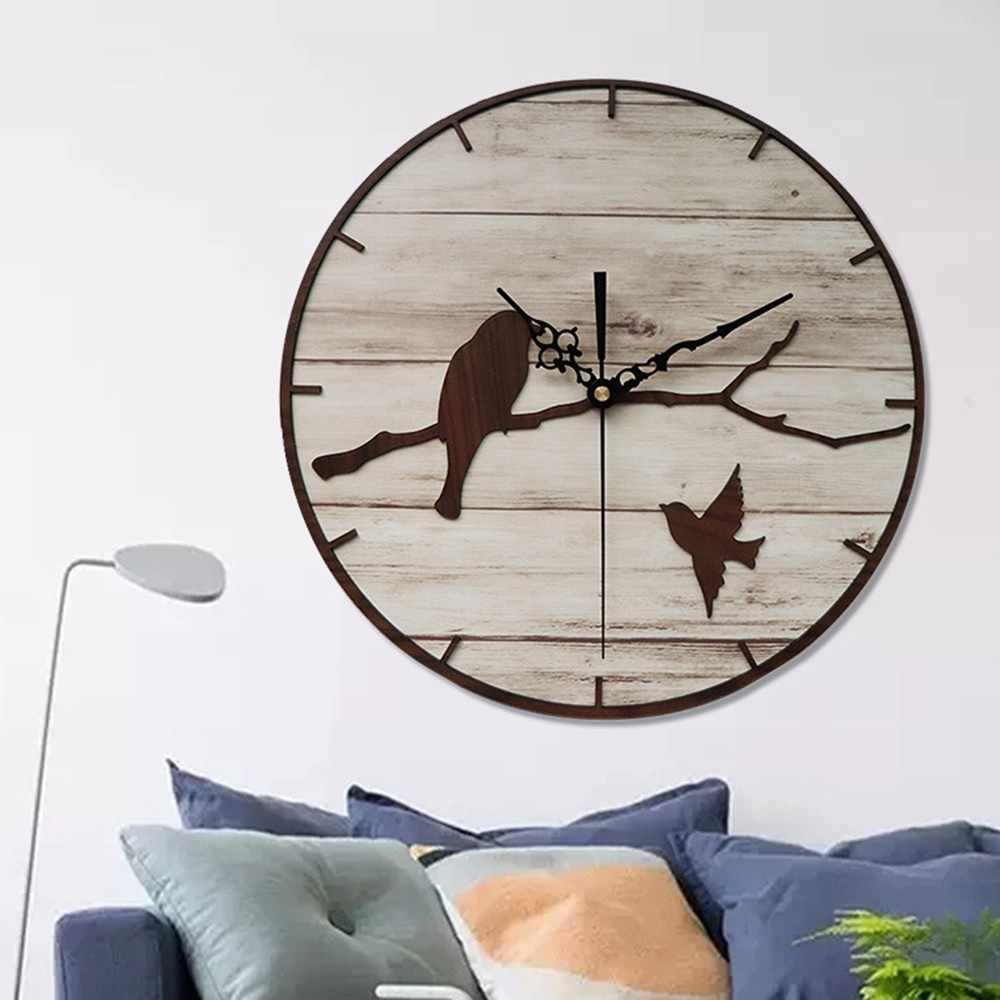 กรอบโลหะ Twig Bird นาฬิกาไม้ Nordic ห้องนั่งเล่นตกแต่ง Hot ขายนาฬิกาควอตซ์เงียบการเคลื่อนไหว