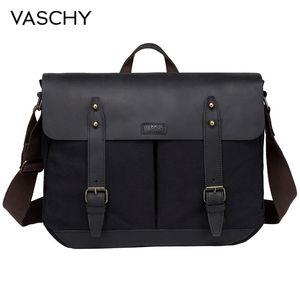 Image 1 - VASCHY Cowhide Leather Messenger Bag for Men Casual Laptop Briefcase Water Resistant Canvas Business Handbag Mens Travel Bag