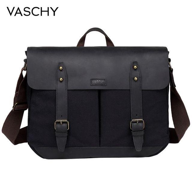 VASCHY Cowhide Leather Messenger Bag for Men Casual Laptop Briefcase Water Resistant Canvas Business Handbag Mens Travel Bag