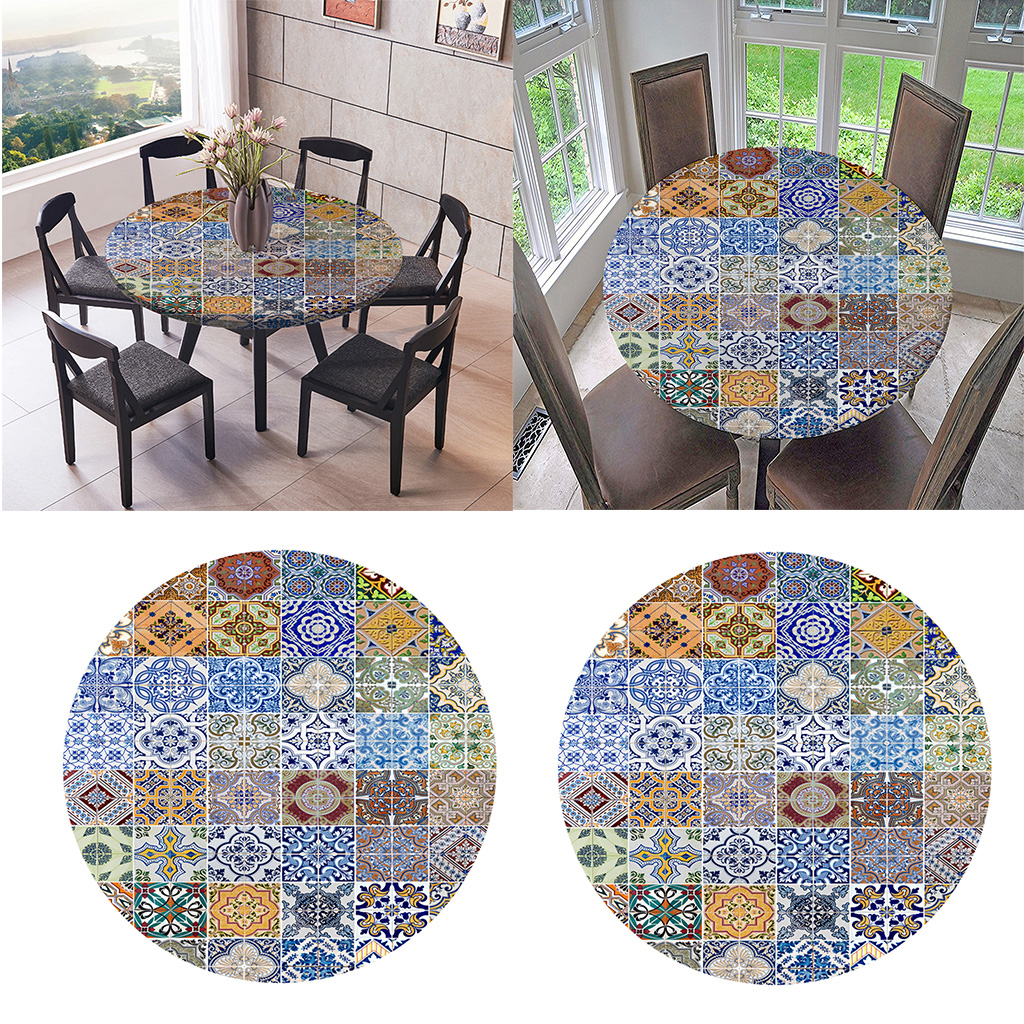 2pcs Table Cloth Round 47 Inch Elastic Edge Fitted Vinyl Table Cover, Colorful Pattern For Home Kitchen Decor