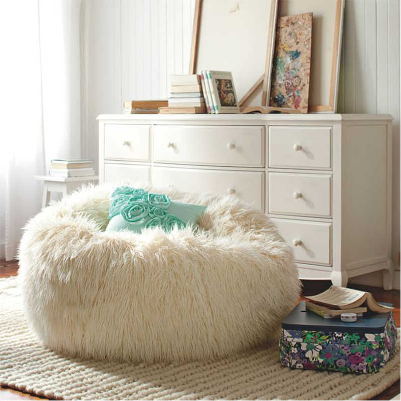 Suave esponjoso de piel de frijol de piel cubierta sin relleno sofá sillón perezoso silla fiesta chico Festival bebé fotografía mostrar accesorios taburete