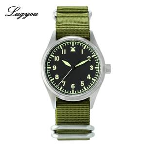 Image 1 - Lugyou San Martin Pilot นาฬิกาผู้ชายอัตโนมัติสแตนเลสกันน้ำ 20 ATM NH35 สีเขียวส่องสว่าง NATO ไนลอน Sapphire