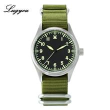 Lugyou San Martin Pilot Mannen Horloge Automatische Roestvrij Staal Waterbestendig 20 ATM NH35 Groene Lichtgevende Nato Nylon Sapphire
