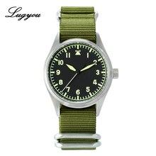 Lugyou San Martin piloto hombres reloj automático de acero inoxidable resistente al agua 20 ATM NH35 verde luminoso nylon NATO zafiro