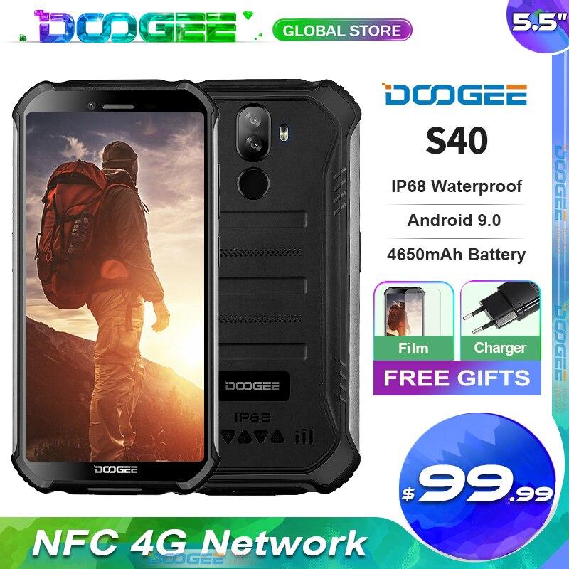 DOOGEE S40 подключается к сети 4G Прочный 5,5 дюймов Дисплей 4650 мА/ч, MT6739 4 ядра 3 ГБ + 32 ГБ, Android 9,0 8.0MP IP68/IP69K мобильный телефон