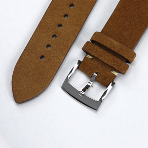 Image 5 - Cronos Watch Parts Genuine Leather Strap for Watch Flat Ends 20mm Stainless Steel Bronze Tongue Buckle Quick Release Spring Bars