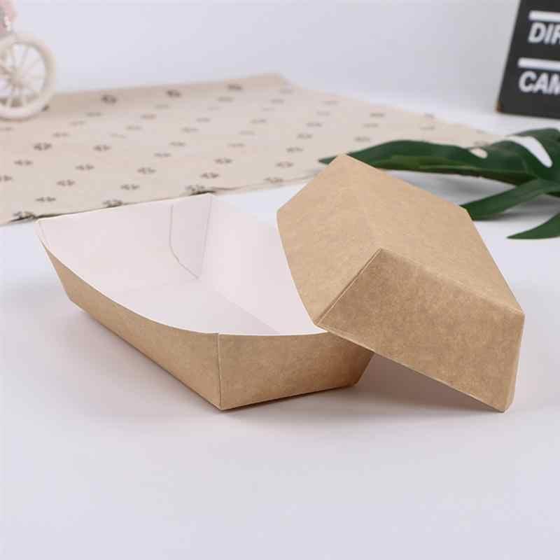 50Pcs Tahan Air Oilproof Kotak Kue Dilapisi Kertas Roti Nampan Makanan untuk Perlengkapan Pesta Karnaval Festival Berdiri
