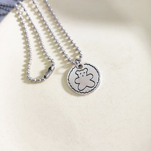 купить Japan and South Korea bear pendant sweater chain hip hop simple coin necklace clavicle chain cool girl disco necklace tide дешево